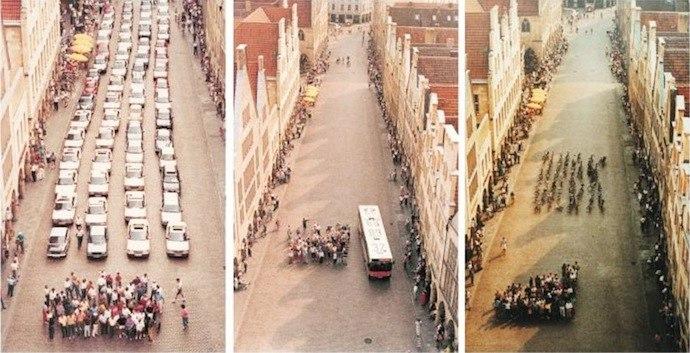 Одно и то же количество людей на автомобилях, автобусе или велосипедах занимает разную площадь.