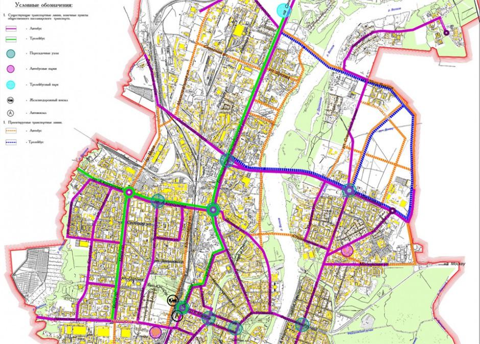 Схема развития троллейбусной сети по генплану